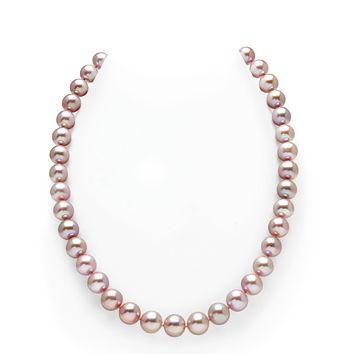 Natural 10mm Lavender Pink Pearl Necklace 18""