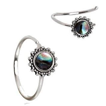 316L Stainless Steel Abalone Shell Charm Nose Hoop / Cartilage Earring