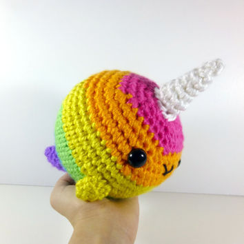Bright Rainbow Striped Giant Narwhal - Made to Order - Amigurumi Crochet Plushie