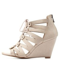 Blush Lace-Up Caged Wedge Sandals by Charlotte Russe