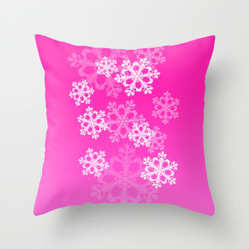 Cute pink snowflakes Throw Pillow by Silvianna