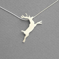 Reindeer Necklace Pendant - Silver Necklace - Hand Cut - Sterlings Silver
