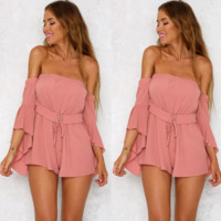 Fashion Off Shoulder Middle Sleeve Pagoda Sleeve Solid Color Romper Jumpsuit Shorts