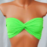 Neon Green Twisted Spandex Bra Top Bikini Top Neon Twisted Sexy Bandeau Beach Wear Beach Bra Swimsuit Spandex Twisted Tops Bathing Suits Top