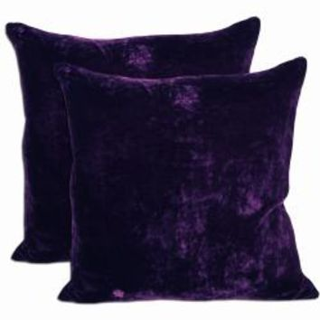 Purple Velvet Feather and Down Filled Throw Pillows (Set of 2)