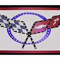 """Crystal Art """"Sign Of The Times"""" Chevrolet Corvette LED Lighted Sign, 10"""" x 19"""" for man cave, garage, bar"""