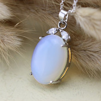 antique silver Victorian style moonstone necklace wedding jewelry bridesmaid gift Christmas gifts