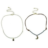 Women's Two Piece Choker with Beads-Moon-and Start Casting - Multicolor : Target