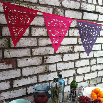 Bridal shower decorations, wedding garland, purple red pink bunting