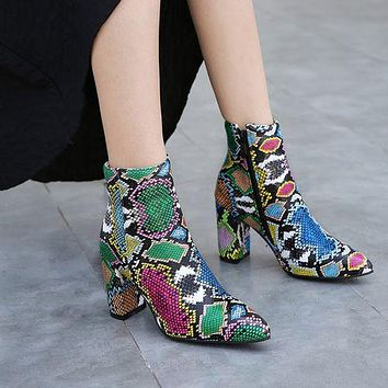 Pointed Toe Snake Pattetn Women's High Heeled Ankle Boots