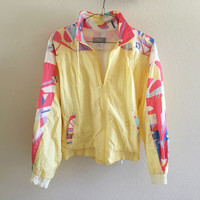 Yellow Pink Pattern Windbreaker 90s Vintage Oversized S