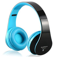 KG-5012 Multi-Function Stereo Sound Collapsible Wireless Bluetooth Headphones with Memory Card Support, FM (Black)