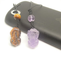1PC Lover Gift  Healing Crystal  Yellow Tiger Eye or Purple Amethyst Money Lucky Pixiu Cell Phone Strap Charm for iPhone,Samsung, HTC, Nokia