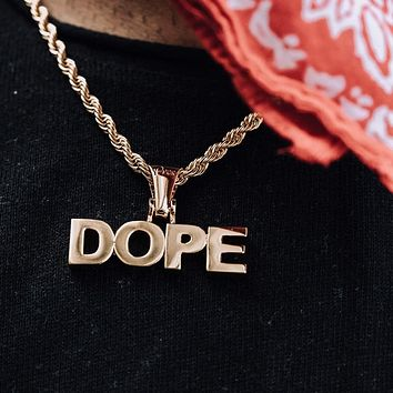 Custom Yellow Gold Block Letters Name Necklace