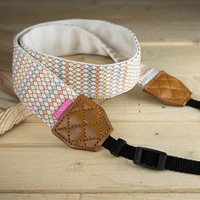 Long Camera Strap - White Vesta for DSLR and Mirrorless with Brown Tag