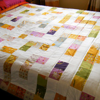 Reversible Quilt, doublesided, girl quilt, patchwork throw, Where is the Princess Maze Quilt, Far Far Away fabrics by Heather Ross