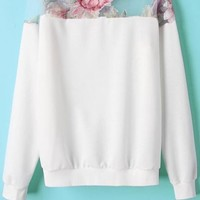 Innovative Organza Paneled Sweatshirts - OASAP.com