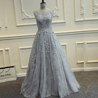 Sleeveless Lace A-Line Long Prom Dresses Evening Dresses