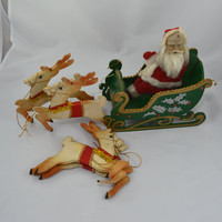 Complete Vintage Folding Santa And Sleigh With Reindeer Made In Japan RARE FIND