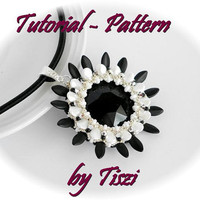 Beading pattern, tutorial for beaded pendant Zakaria with petals and big rivoli, PDF instructions, tutorial for beading step by step