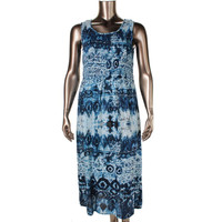 Elementz Womens Petites Smocked Sleeveless Maxi Dress