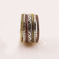 Three Tone Sterling Silver Aztec Tribal Stack Ring