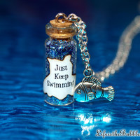 Just Keep Swimming, Finding Nemo, Dory, Magical Bottle & Fish Charm Necklace
