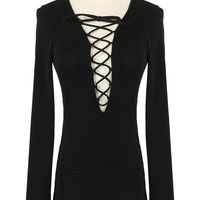 Black Plunge Lace Up Front Long Sleeve T-shirt