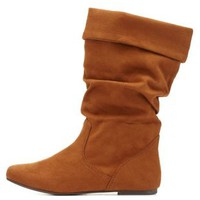 Slouchy Flat Fold-Over Boots by Charlotte Russe