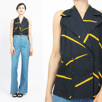 80s Abstract Print Blouse