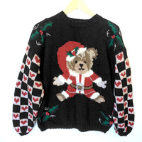 Come To Teddy Bear Vintage 80s Tacky Ugly Christmas Sweater