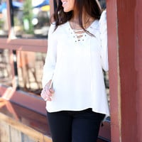 Lace It Up Top - Ivory