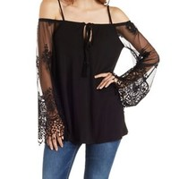 Black Embroidered Mesh Bell Sleeve Peasant Top by Charlotte Russe