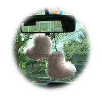 Cute Baby Pink twin hearts Fluffy faux fur car / home hanging