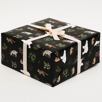 Holiday Animals Wrapping Paper for Christmas gift wrap - Black