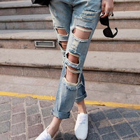 S,M,L,XL women ripped jeans light blue boyfriend pants. = 5709386561