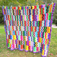 """Colorful crochet afghan blanket throw with multicolored chevrons zig zag pattern and purple ruffle border 75"""" x 73"""""""