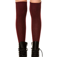The Cable Knit Knee High Socks in Red