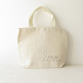 """Small Canvas Tote Bag - Love Tote Bag - Valentines Day Bag - Hand Written """"Love"""" and small heart on 10 3/4"""" x 8 1/4"""" Tote Bag"""