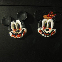 Mickey Mouse and Minnie gone rotten/ Day of the Dead/Zombie Magnets. Rockabilly, Steampunk, Goth