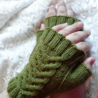Knit Fingerless Gloves, Hand Warmers, Olive Green Wrist Warmers, Green Knit Gauntlets, Arm Warmers