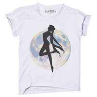 Moon Manga T-Shirt, Unisex White Cotton Blend