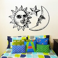 Wall Decal Vinyl Sticker Decals Art Home Decor Murals Sun Moon Crescent Dual Ethnic Stars Night Symbol Sunshine Tribal Flame Fire Bathroom Bedroom Dorm Decals AN31