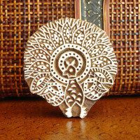 Peacock Stamp: Hand Carved Wood Printing Block, Indian Wooden Block Stamp, Ceramic Tile Pottery Craft Stamp, India Decor