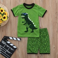 MUQGEW Fashion Children clothing set 2PCs Kids Baby Boys Dinosaur Printed Tops+Squama Print Shorts kids clothes conjunto infanti