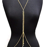 Gold Tone Womens Adjustable Size Crystal Dangling Accent Simple Body Chain Necklace Jewelry IBD1039G