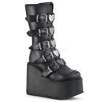 "Swing 230 Black Mid Calf Boot 5.5"" Platform Heart Strap Design Goth"