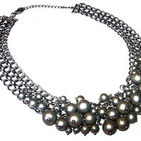 "Gray Glass Beaded Bib Necklace Triple Curb Chains High Fashion Statement 17.5"" Vintage"