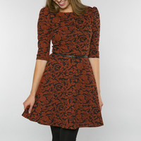 Belted Damask Party Dress