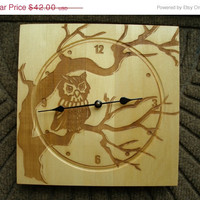 On Sale Wall clock bass wood engraved owl